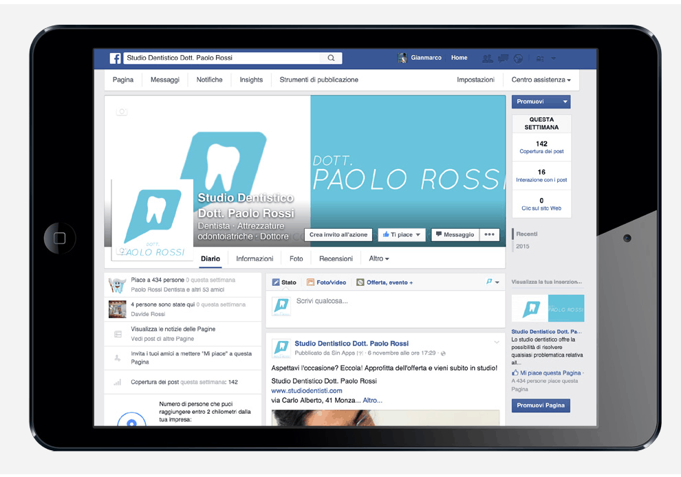 Dentista Paolo Rossi - Sinapps Social Media Marketing Milano