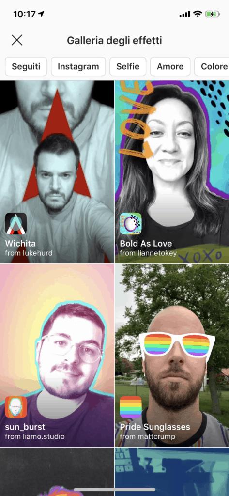 filtri personalizzati per Instragram
